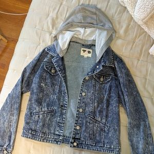 Faded Denim Jacket, sweater hood- Large